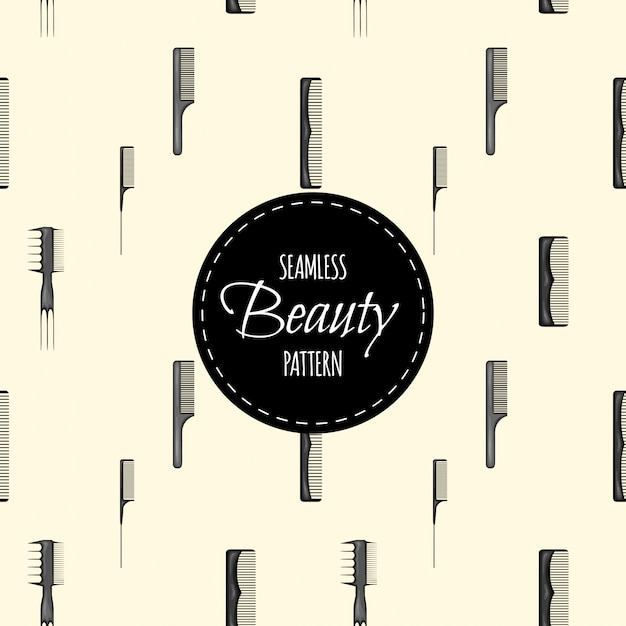 Beauty seamless pattern with combs. cartoon style.