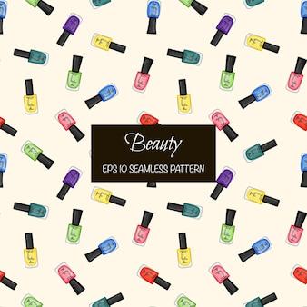 ネイルポリッシュの美しさのシームレスなパターン。漫画のスタイル。ベクトルイラスト。