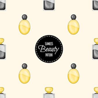 香水との美しさのシームレスなパターン。漫画のスタイル。
