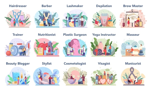 美容サービスと職業セット。ビューティーサロンの手続き。マッサージ師、ネイリスト、ビザジスト、ワックスがけ、眉毛の達人。理髪師、美容師、ラッシュメーカー、美容師。