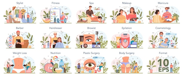 Beauty service and profession set. beauty salon procedure. manicurist, visagist, epilation and spa master. barber and hairdresser, browist and cosmetologist. isolated vector illustration