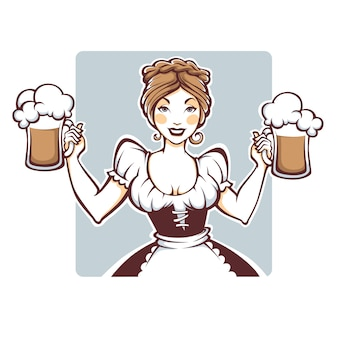 Beauty and sexy  german girl holding a draft beer portrait, logo or emblem for your oktoberfest menu