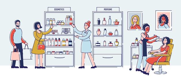 ビューティーショップコンセプト。セールスアソシエイトは、化粧品や特別オファーについて顧客に相談しています。