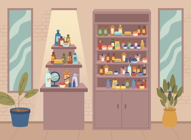 다양한 피부 및 바디 케어 병 및 항아리가 다양한 구색을 갖춘 미용실 화장품 매장