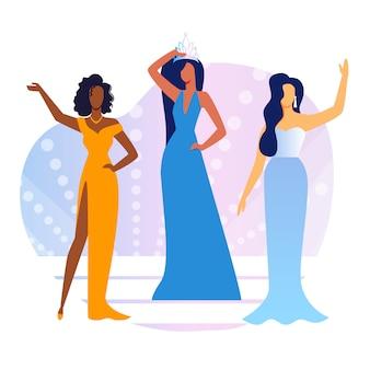 Beauty show contestants flat vector illustration