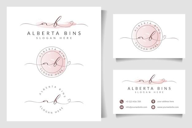Коллекция логотипов beauty signature с шаблоном визитной карточки