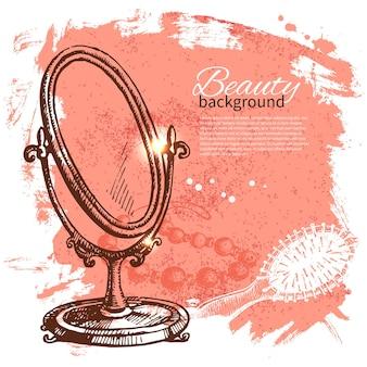 美容スケッチの背景。化粧品アクセサリーのヴィンテージ手描きベクトルイラスト