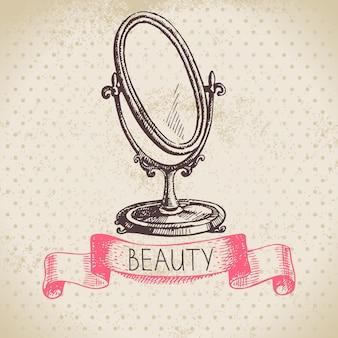 美容スケッチの背景。化粧品のヴィンテージ手描きベクトルイラスト