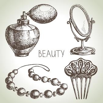 Набор иконок эскиз красоты. винтажные рисованной векторные иллюстрации косметики
