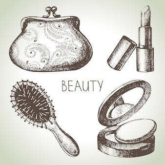 美容スケッチアイコンセット。化粧品のヴィンテージ手描きベクトルイラスト