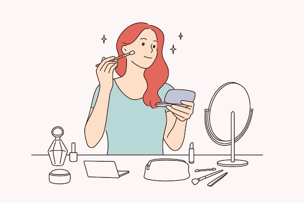 뷰티, 스킨케어, 메이크업 컨셉입니다. 거울 벡터 일러스트 레이 션을보고 브러시로 메이크업을 만드는 젊은 예쁜 여자 만화 캐릭터 앉아