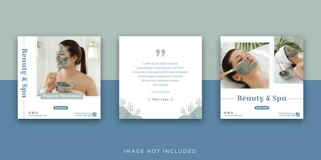 Beauty and spa center social media instagram post template