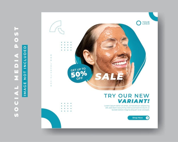 Beauty and spa center social media post banner template
