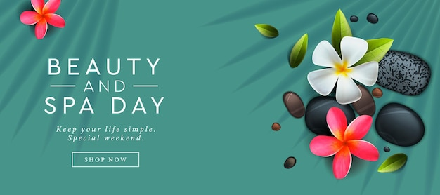 Beauty and spa day advertising banner design template