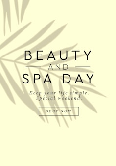 Beauty and spa day social media story template design with tropical leaf shadow on beige background
