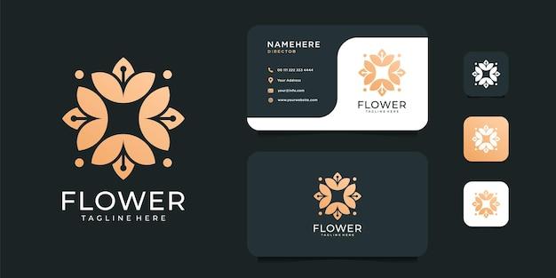 ビューティースパフラワーファッション禅ロゴデザインコンセプトセット。