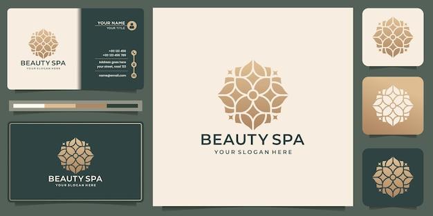 Beauty spa logo design. creative beauty flower logo,gold color,modern layout,business card template.