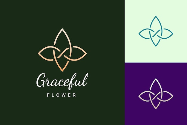 Beauty or spa logo in luxury and simple flower shape