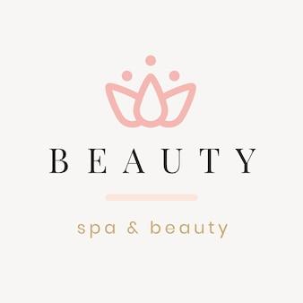 Modello di logo della spa di bellezza, illustrazione del fiore di loto per il vettore di affari di salute e benessere