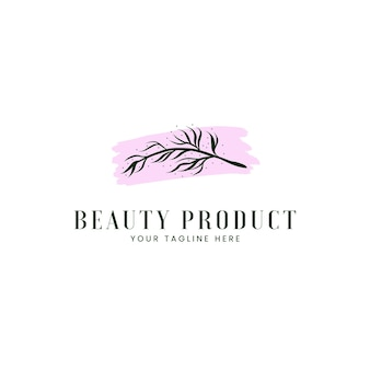 Beauty spa natural cosmetic logo with rustic branch leaf icon logo