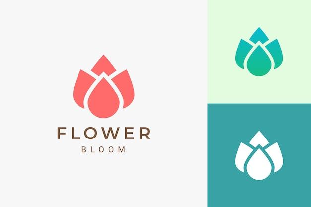 Косметический спа или логотип йоги в плоском и абстрактном цветочном логотипе