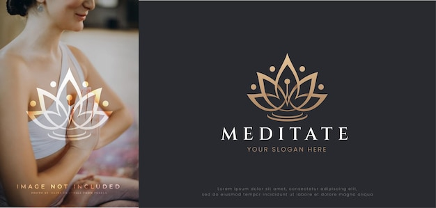 Beauty spa pink lotus flower logo design