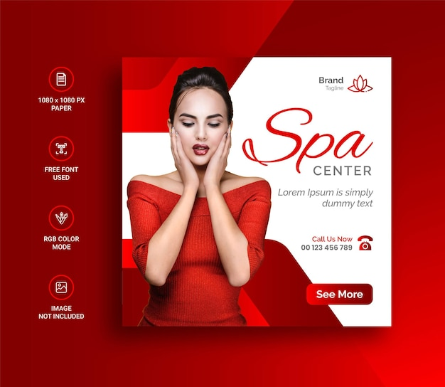 Beauty spa social media banner and instagram post