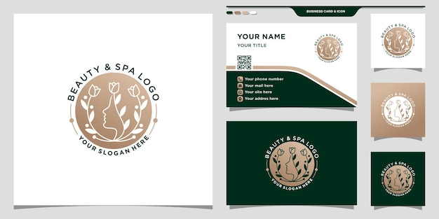 Beauty spa woman face logo with negative space concept and business card design premium vector