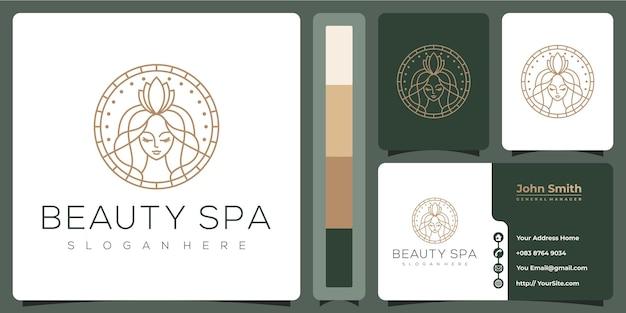 Салон красоты спа женщина роскошный логотип с шаблоном визитной карточки