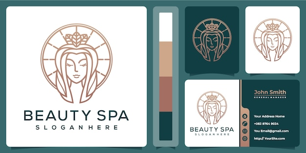Beauty spa woman luxury logo with business card template