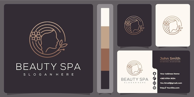Beauty spa woman luxury monoline logo with business card template