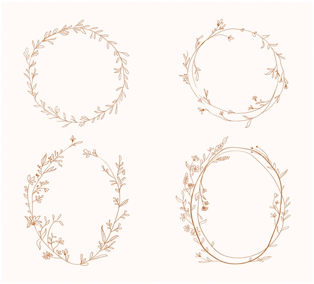 Beauty spring golden floral flower circle frame