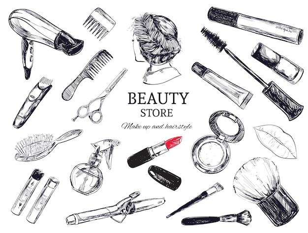 Beauty store background with hairdressing objects