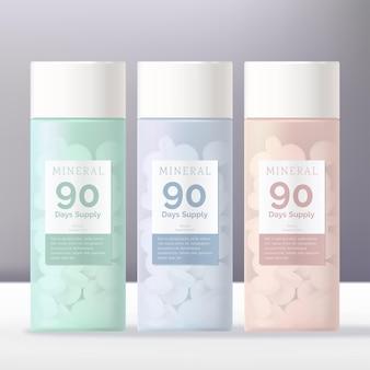 Косметические добавки или таблетки пастельного цвета, тонированная прозрачная белая упаковка бутылок с завинчивающейся крышкой