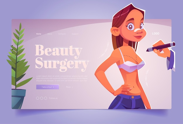 Beauty surgery banner with woman in bra