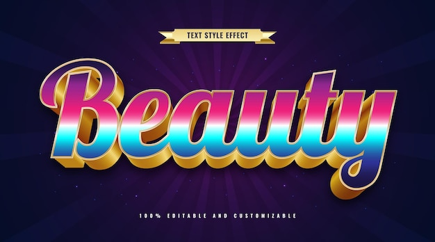 Beauty text in colorful and gold with 3d effect. editable text effect