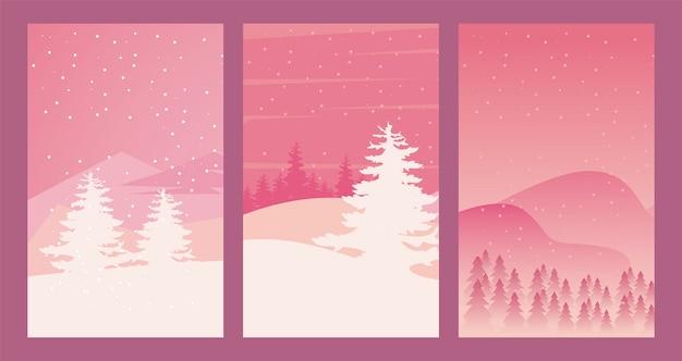 美しさ3つのピンクの冬の風景シーンイラスト
