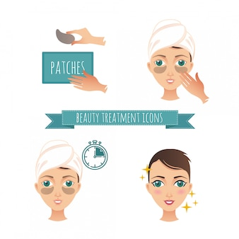 Beauty treatment illustration, application of patches under the eyes