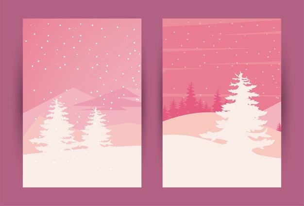美しさ2つのピンクの冬の風景シーンイラスト
