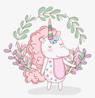 Beauty unicorn animal with plants leaves
