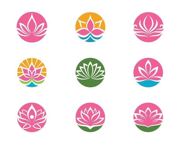 美容ベクトル蓮の花のデザインのロゴテンプレートアイコン