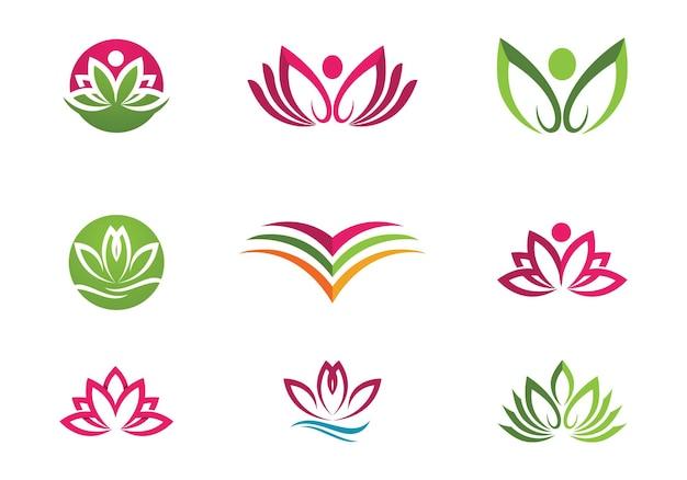 Красота вектор цветы лотоса дизайн логотипа значок шаблона