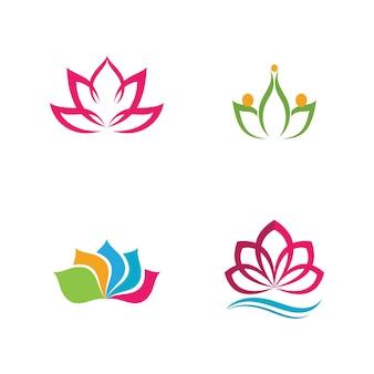 Красота вектор цветы лотоса дизайн логотип значок шаблона