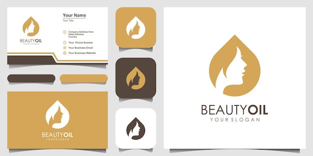 Beauty water logo design template element and business card. beauty oil concept.