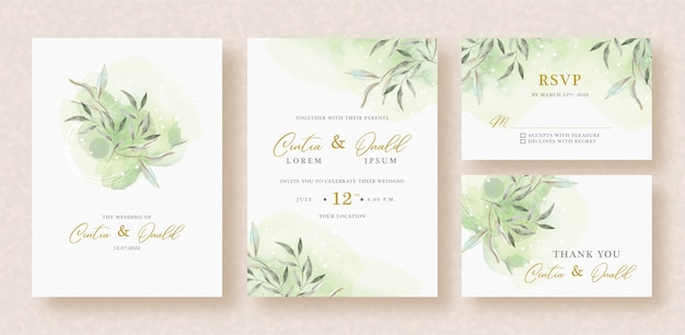 Beauty watercolor leaves on wedding invitation template