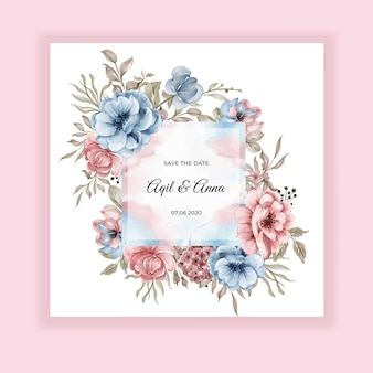 Beauty wedding floral frame invitation card with pink blue flowers