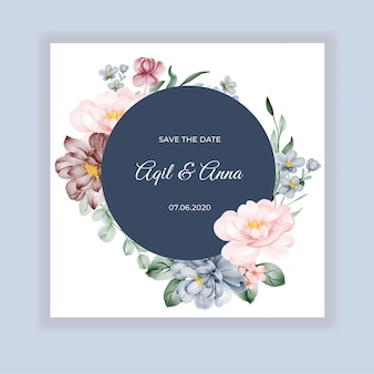 Beauty wedding floral round invitation card with pink blue burgundy flowers