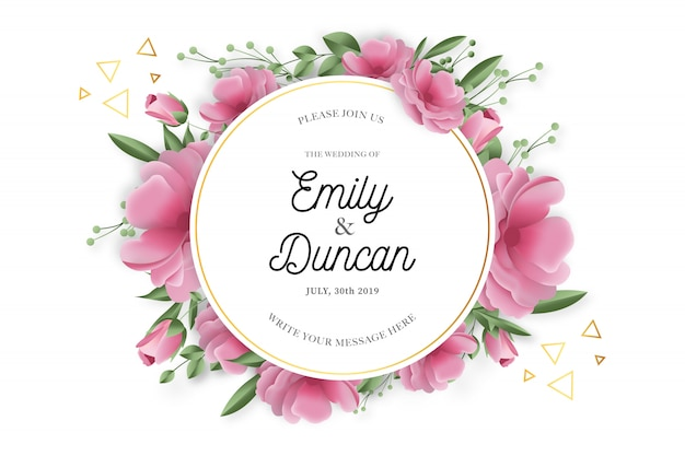 Beauty wedding frame with realistic flowers