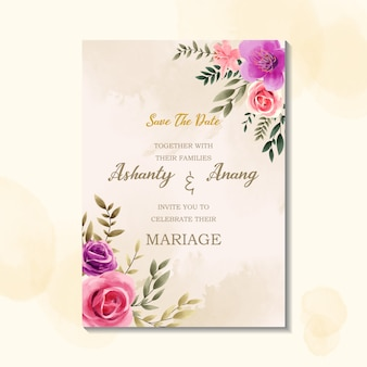Beauty wedding invitation card template with watercolor vintage style