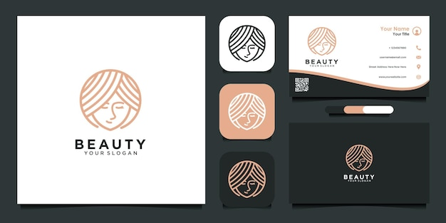 Beauty with face logo design template and business card